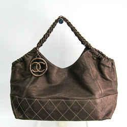 Chanel Wild Stitch Women's Leather Shoulder Bag Metallic Brown BF511113