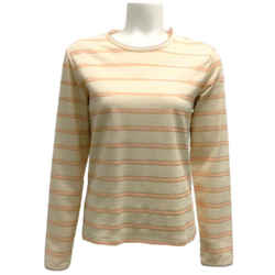 Chanel Cream and Coral Metallic Stripe Blouse
