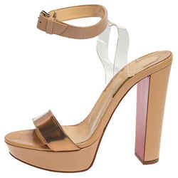 Christian Louboutin Beige PVC and Patent Leather Block Heel Sandals Size 38.5