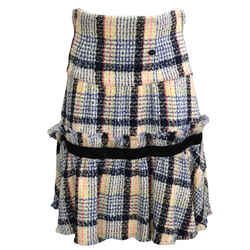 Chanel Multi Color Frayed Hem Skirt