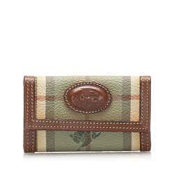Vintage Authentic Burberry Haymarket Check Coated Canvas Key Holder