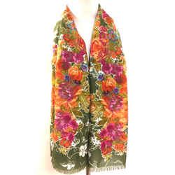 NINA RICCI Green/Multicolor Floral-Print Wool & Silk Shawl/Scarf