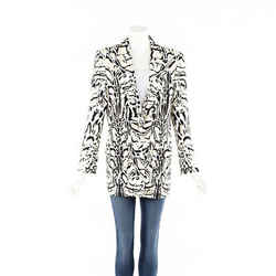 Roberto Cavalli Jacket White Animal Print Blazer SZ 46