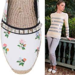 NEW $495 SAINT LAURENT PARIS White Vintage Floral Print Studded Espadrille Flats