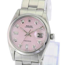 Rolex Oysterdate Stainless Steel Pink Mop Diamond Dial 34mm Watch