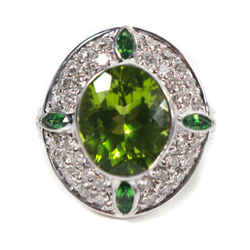 Sonia B - Diamond Ring -14k White Gold - Peridot Green Stone - Us 3.5