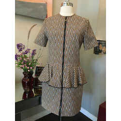 Louis Vuitton Size 36 Gold & Black Cotton Blend Peplum  Dress