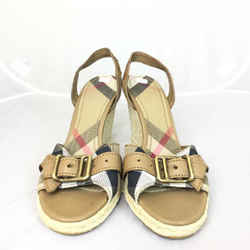 Women's Burberry Nova Check Wedge Sandals. Size 40