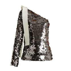 $429 Msgm Sequin One Shoulder Silver/blush Top W/ribbon Sz 2 It 38