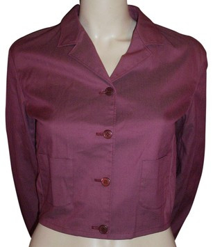Prada Red & Silver Shimmering Twill Cropped Jacket 38IT 4/6 NWT