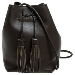 Tom Ford Brown Leather Double Tassel Bucket Bag