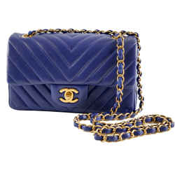 "Chanel Classic Flap Small Chevron Quilted Blue Lambskin Leather Shoulder Bag 8""l X 2.75""w X 5""h"