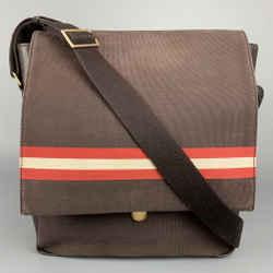 BALLY Brown Leather Trim Canvas Rectangle Shoulder Bag