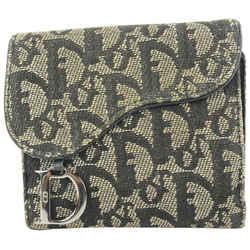 Dior Navy Blue  Monogram Trotter Saddle Compact Wallet 15da624