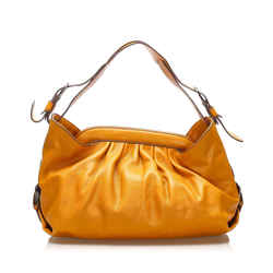 Vintage Authentic Fendi Orange Calf Leather Borsa Doctor Shoulder Bag Italy