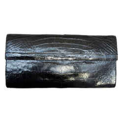 Nancy Gonzalez Crocodile Patent Leather Flap Handbag Icon Black Clutch