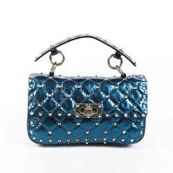 Valentino Bag Rockstud Spike Small Blue Quilted Lambskin