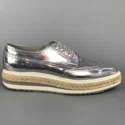 PRADA Size 12 Silver Metallic Leather Platform Lace Up Shoes