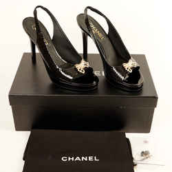 Chanel Patent Leather Sandals Black Pumps