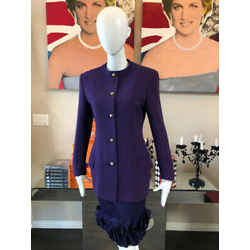 Versace Couture Size 40 Purple Wool Skirt Suit 2828-1-6221
