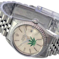 Rolex Mens Datejust Silver Dial Engine Turned Bezel 36mm Watch