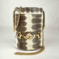 Gucci Zumi White/gray Snakeskin Mini Drawstring Bucket Chain Bag 576432 9599