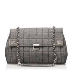 Vintage Authentic Chanel Gray Denim Fabric Choco Bar Flap Bag France