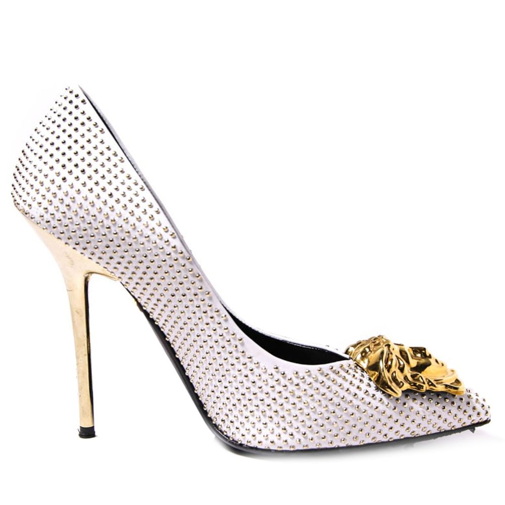 Versace White Studded Gold Medusa Pumps