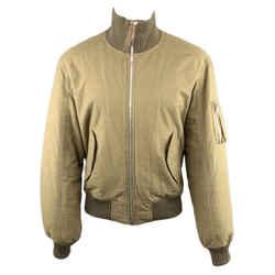 Helmut Lang Xs Olive Solid Cotton Bomber Jacket