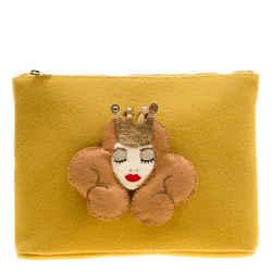 Charlotte Olympia Yellow Wool Sleeping Beauty Felt Pouch