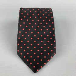 Brioni Black & Red Polka Dot Silk Tie
