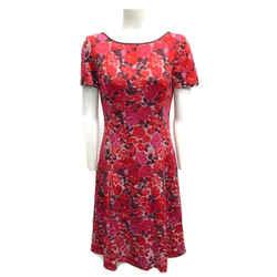 St. John Red/pink Short Sleeve Cocktail Dress