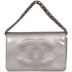 Chanel Crystal Cc Strauss Silver Patent Leather Wallet On A Chain