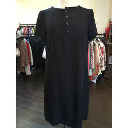 A.p.c. Size M Black Silk Short Sleeve Shift Dress 2243-4-61219