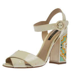 Dolce & Gabbana Cream Patent Leather Ankle Strap Block Heel Sandals Size 36