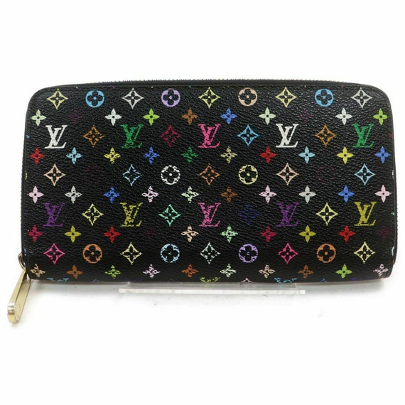 Louis Vuitton Black Monogram Multicolor Zippy Wallet Litchi Zip Around 861185
