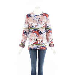Christian Dior Sweater Multicolor Horse Print Cotton Knit Sz 38