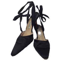MANOLO BLAHNIK Black Satin Mules with Ankle Tie Straps Size 37