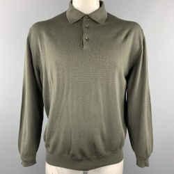 Ermenegildo Zegna Size L Olive Wool Buttoned Pullover