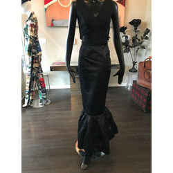 Prada Size It 42 Black Silk Satin Fishtail Long Evening Skirt