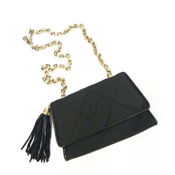 Vintage Chanel Satin Quilted Shoulder Bag