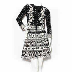 Alexander McQueen Black and White Floral Print Knit Skirt Set