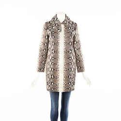 Chloe Python Print Brown Cotton Coat SZ 36