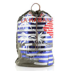 Cuba La Habana Drawstring Backpack Sequin Embellished Canvas Large