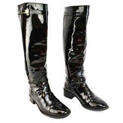 FENDI: Black, Patent Leather & Logo Tall Boots Sz: 7M