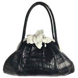 Nancy Gonzalez Black Crocodile Skin Leather Shoulder Bag