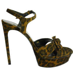 Saint Laurent Leopard Print 'bianca' Platform Strappy Bow Sandal Sz 36.5 Nib Ysl