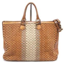 FENDI Tote Bag Suede Snakeskin Tan Cream Large Top Handle Shoulder Strap