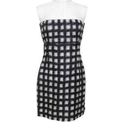 Chanel Strapless Dress Pearls Black Checkered White Runway 2013 Sz 38