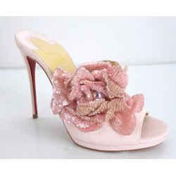 Christian Louboutin Women Submuline Mule Pink Suede Size 35